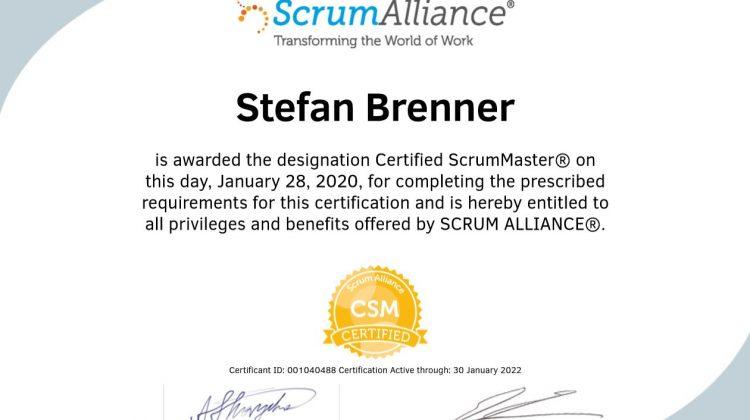 Certified ScrumMaster Zertifikat